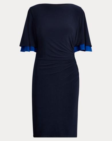 Flutter-Sleeve Jersey Dress
