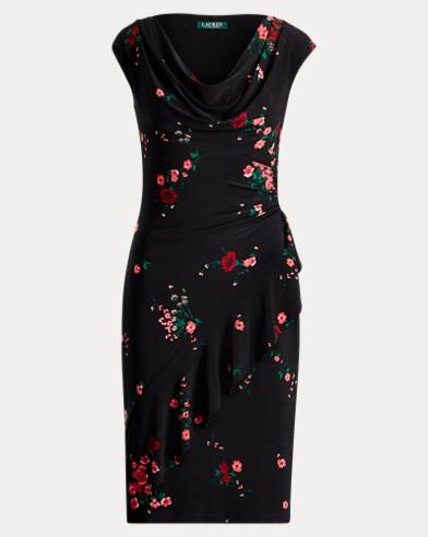 Ruffle-Trim Floral Dress