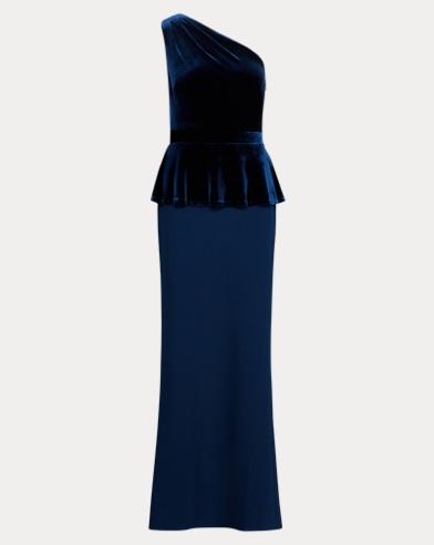 Velvet-Trim One-Shoulder Gown