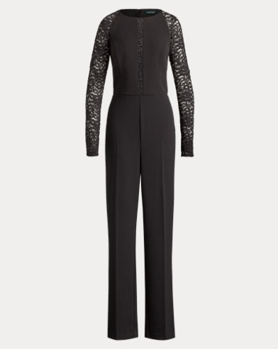 Lace-Sleeve Jersey Jumpsuit