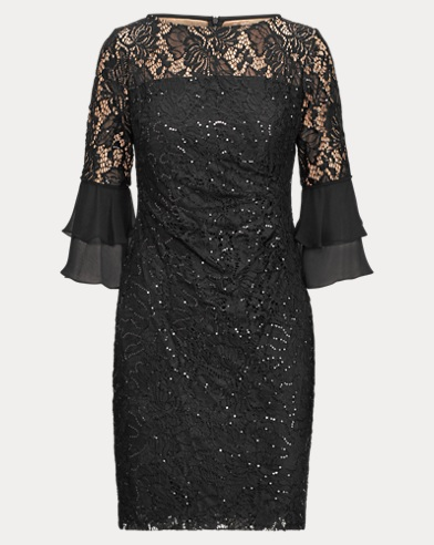 Sheer-Yoke Lace Dress
