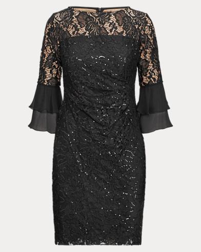 Sheer-Yoke Lace Dress