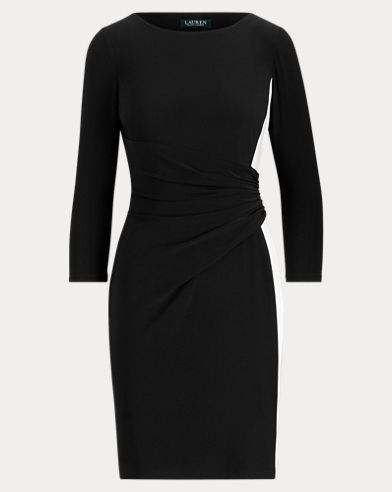 Shirred Two-Tone Jersey Dress