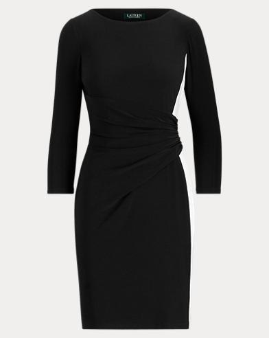 Shirred Two-Tone Jersey Dress