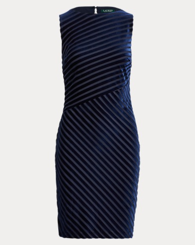 Shadow-Stripe Velvet Dress