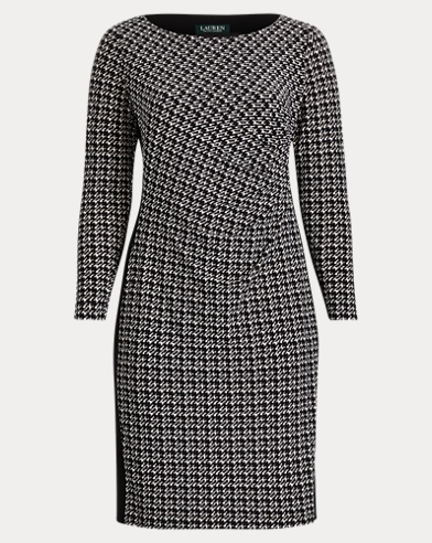Color-Block Houndstooth Dress