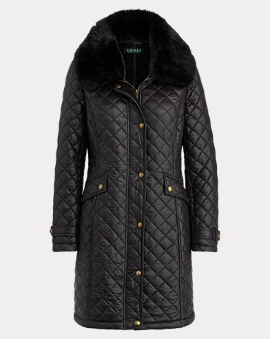 Faux Fur-Trim Quilted Jacket