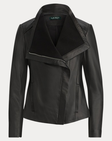 Leather Funnelneck Jacket