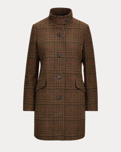 Gun Check Wool-Blend Coat