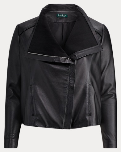 Leather Funnelneck Jacket