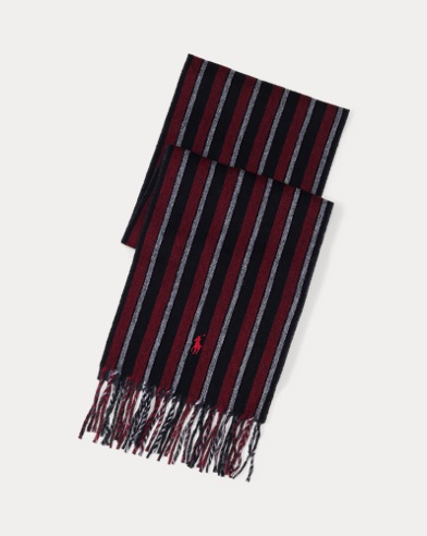 Regimental-Stripe Wool Scarf