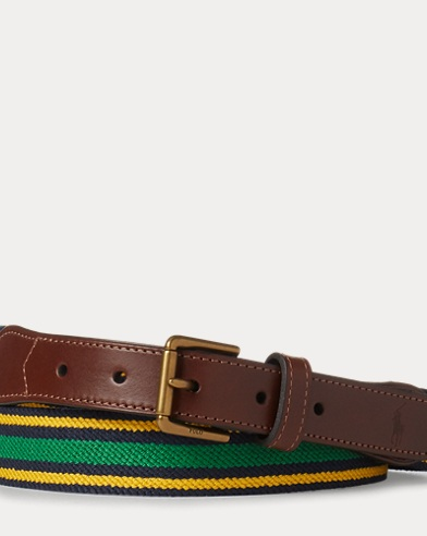 Striped Stretch Twill Belt