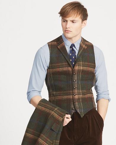 Plaid Wool Twill Vest