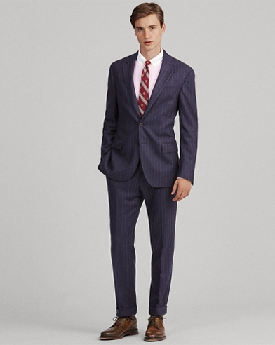 Polo Chalk-Stripe Flannel Suit