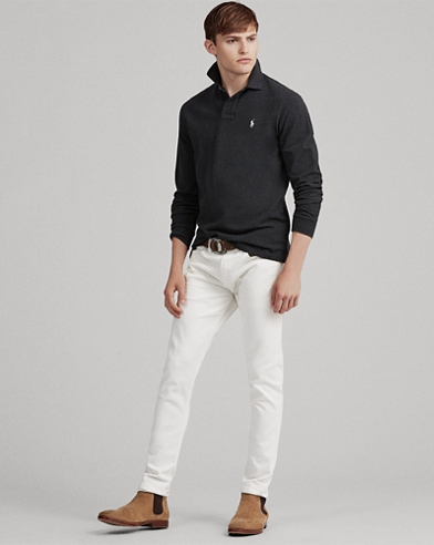 Slim Fit Mesh Long-Sleeve Polo