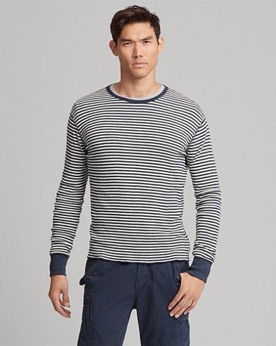 T-shirt rayé en tricot gaufré
