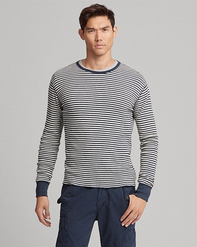 Striped Waffle-knitted T-Shirt