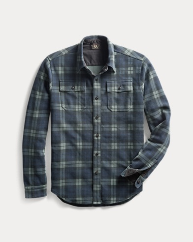 Plaid-Print Knit Workshirt