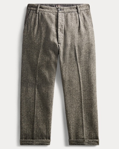 Pleated Herringbone Pant