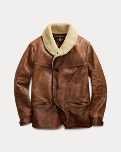 Shearling-Trim Leather Coat