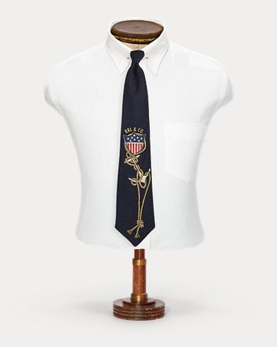 Cravate ancre indigo faite main