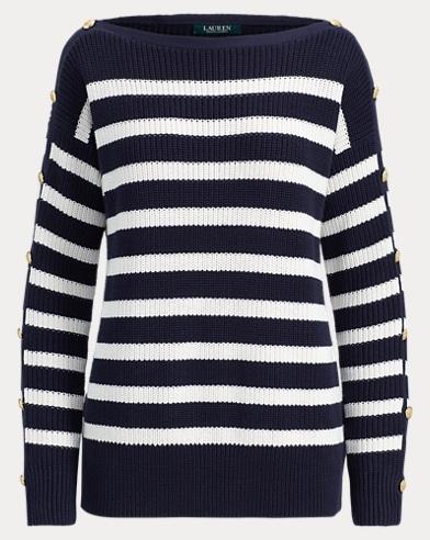 Button-Trim Cotton Sweater
