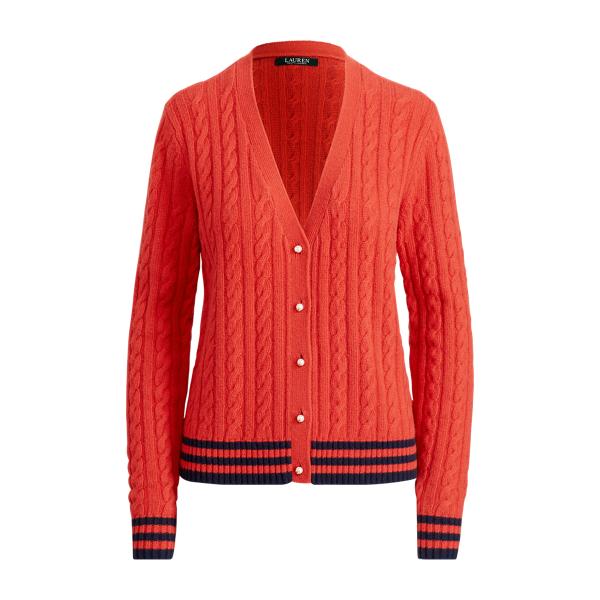Ralph Lauren Cable-Knit Cardigan Crimson/Navy S