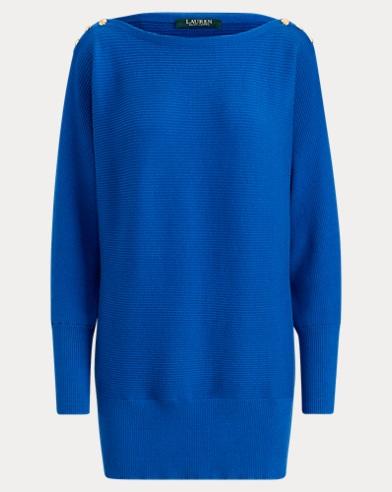 Button-Shoulder Cotton Sweater