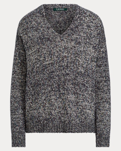 Cotton-Blend V-Neck Sweater