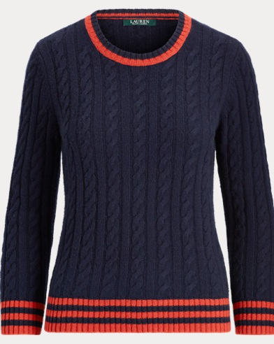 Stripe-Trim Cable-Knit Sweater