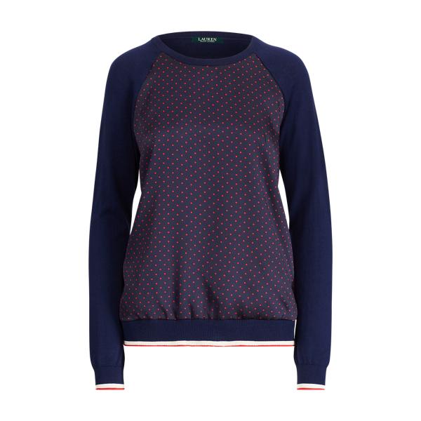 Ralph Lauren Raglan-Sleeve Pullover Navy/Crimson/Fall Dot L