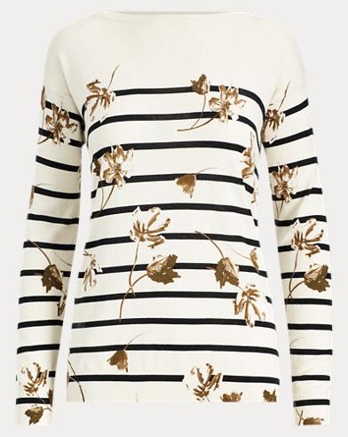 Floral Striped Cotton Top