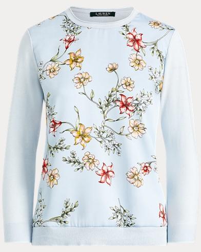 Floral Cotton-Blend Sweater