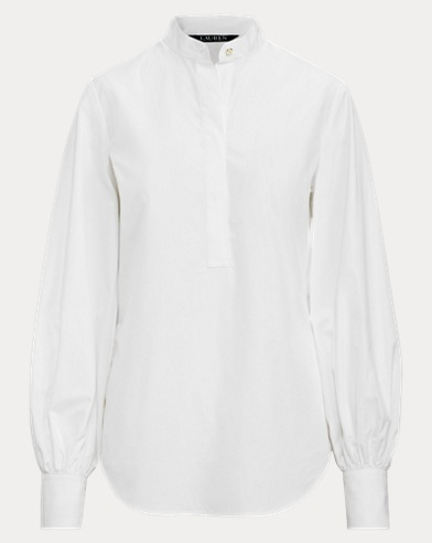 Blouson-Sleeve Cotton Shirt