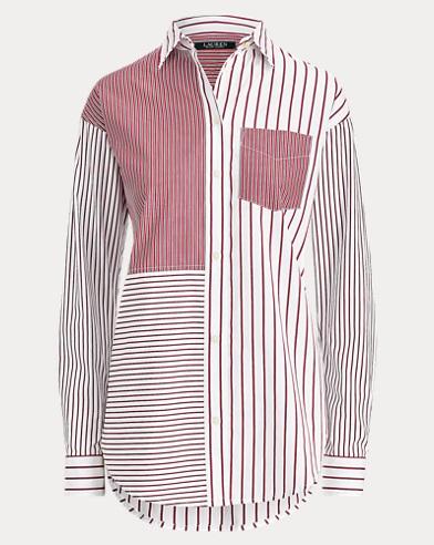 Striped Patchwork Cotton Shirt