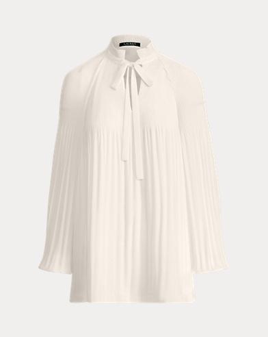 Blusa de georgette con lazo al cuello