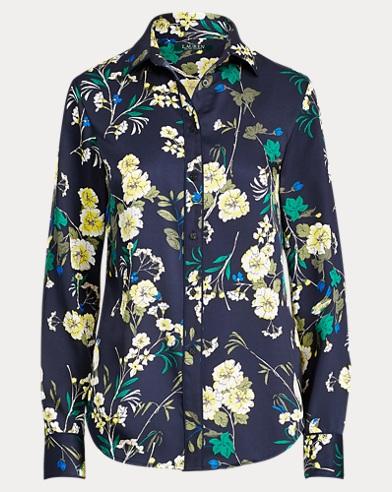 Floral-Print Sateen Shirt