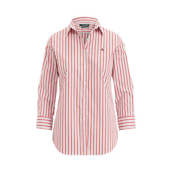 Ralph Lauren No-Iron Button-Down Shirt Crimson Multi Xs