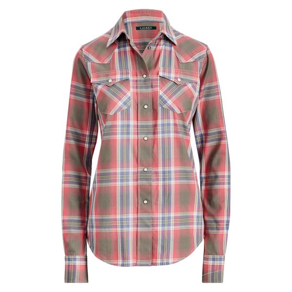 Ralph Lauren Plaid Western Shirt Pink Multi S