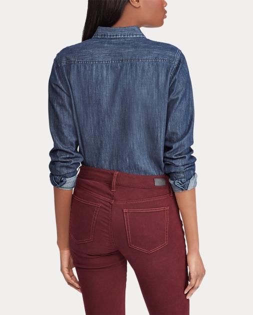 d456a3b2da5 Lauren Crest-Patch Denim Shirt 4
