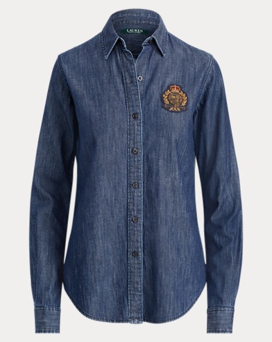 Crest-Patch Denim Shirt