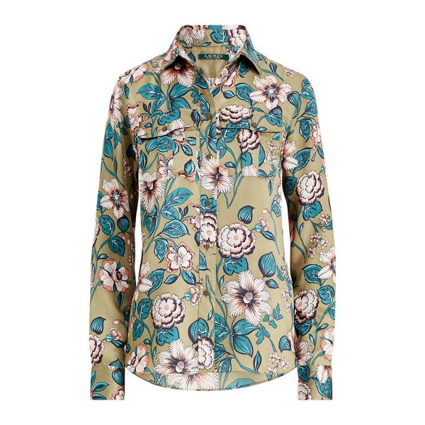 Ralph Lauren Floral-Print Button-Down Shirt Olive Multi M
