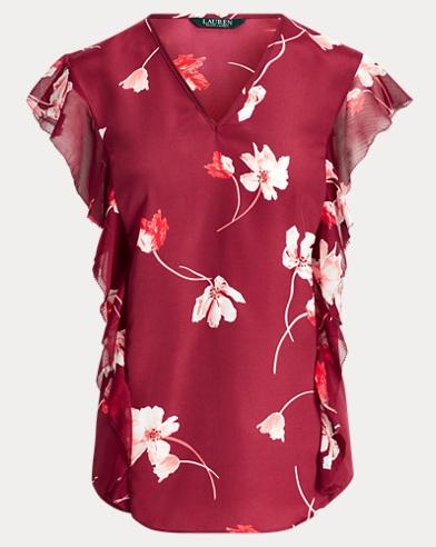 Floral-Print Ruffled Crepe Top