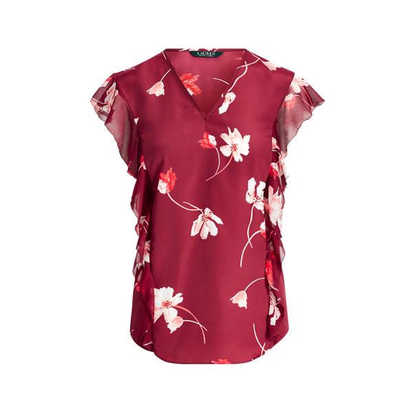 Ralph Lauren Floral-Print Ruffled Crepe Top Multi Xs