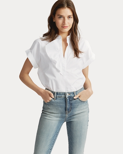 Ruffled Stretch Cotton Top