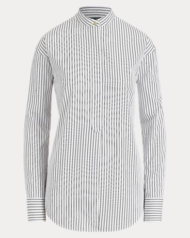 Striped Band-Collar Shirt