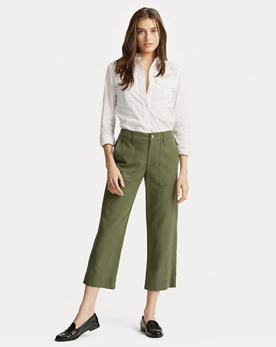 Pantalon droit en coton stretch