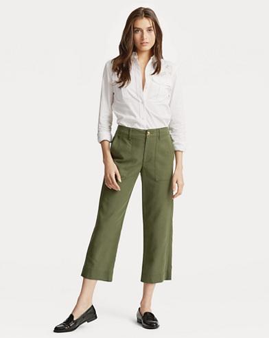 Pantaloni in cotone stretch dritti