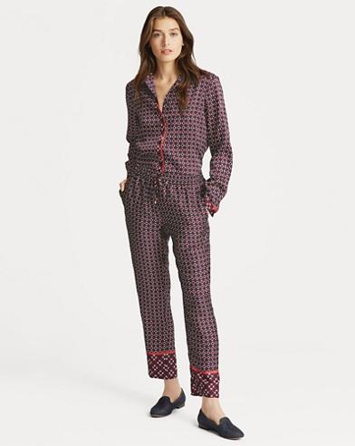 Pantalon en sergé motif géométrique