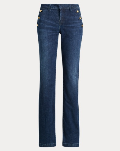 Button-Trim Straight-Leg Jean